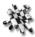 New SPLAT Design With Chequered Flag Motif External Vinyl Car Sticker 110x110mm